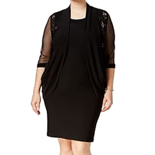 5cb7570d00e Shop R M Richards NEW Black Womens 20W Plus Sequin-Lace Jacket Sheath Dress  - Free Shipping On Orders Over  45 - Overstock.com - 18322244