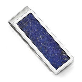 Chisel Stainless Steel Brushed and Polished with Lapis Lazuli Inlay Money Clip