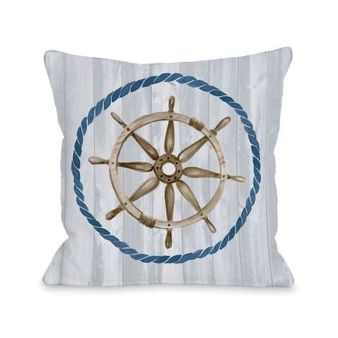 Captains Wheel - Gray Throw Pillow by Jennifer Paxton Parker