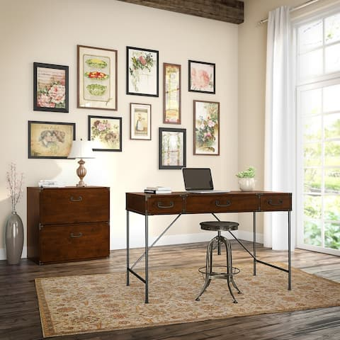Ironworks Desk with File Cabinet from kathy ireland Home by Bush Furniture