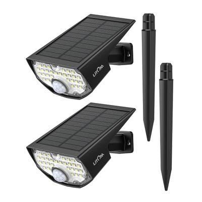 LITOM 2PC 30 LED Solar Lights Landscape Spotlights Waterproof 2-in-1 Solar Wall Light Wireless Outdoor with PIR Motion Sensor