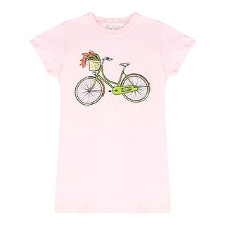 Divine 79 Floral Bicycle Graphically Designed Front Junior's Pink Casual T-shirt