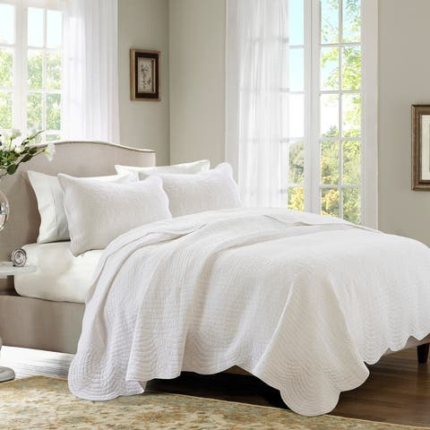 Madison Park Marino White Reversible Scalloped Edge Coverlet Set