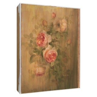 """PTM Images 9-154608  PTM Canvas Collection 10"""" x 8"""" - """"Vintage Roses on Green I"""" Giclee Roses Art Print on Canvas"""