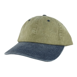 CapRobot Washed Unstructured Low Profile Strapback Hat Dad Cap - Khaki Navy Blue