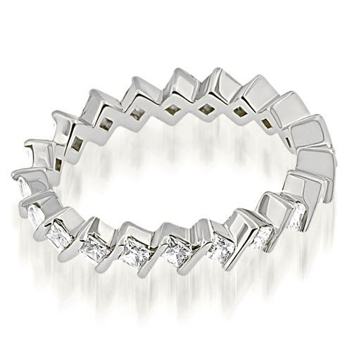 1.40 cttw. 14K White Gold Stylish Bar Set Princess Cut Diamond Eternity Band
