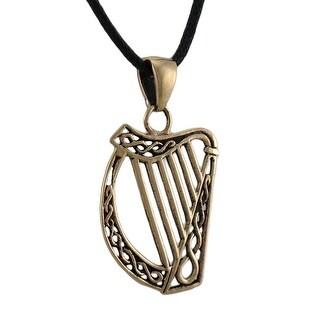 Bronze Finished Celtic Harp Pendant Charm Irish