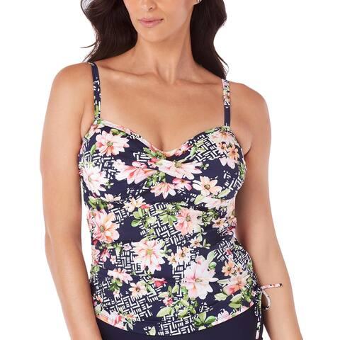 9d6a77b2fc427 Swim Solutions Womens Swimsuit Juliet Printed Side-Tie Tankini Top 14 Multi