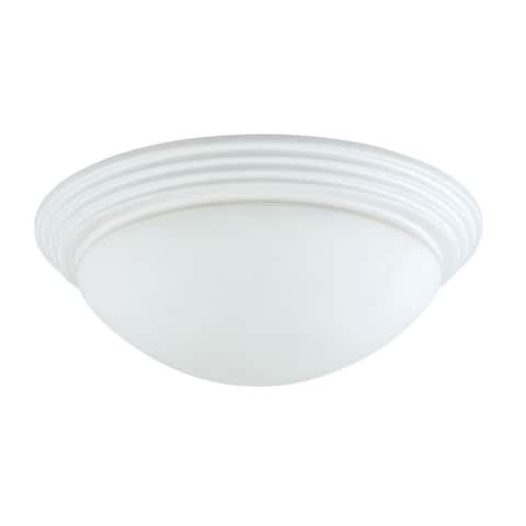 Dome Shaped Glass Ceiling Lamp with Hardwired Switch, White and Clear