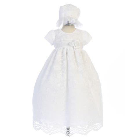 273b662d3 Crayon Kids Baby Girls White Lace Floral Long Baptism Dress Bonnet Set 3-9M