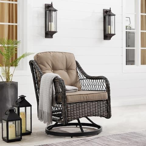 Corvus Vasconia Outdoor Hand-Woven Resin Wicker Swivel Chair