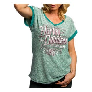 Harley-Davidson Women's Wicked Rumble Striped Short Sleeve Tee, Green 5T38-HC66|https://ak1.ostkcdn.com/images/products/is/images/direct/01a6d169148e362b50c20429e715880d622ce3fe/Harley-Davidson-Women%27s-Wicked-Rumble-Striped-Short-Sleeve-Tee%2C-Green-5T38-HC66.jpg?impolicy=medium