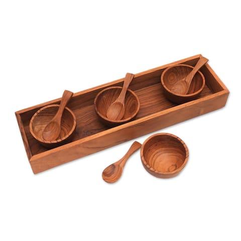 "Handmade Date Night Wood Condiment Set (9 Piece) Indonesia - 1.2"" H x 2.4"" Diam."