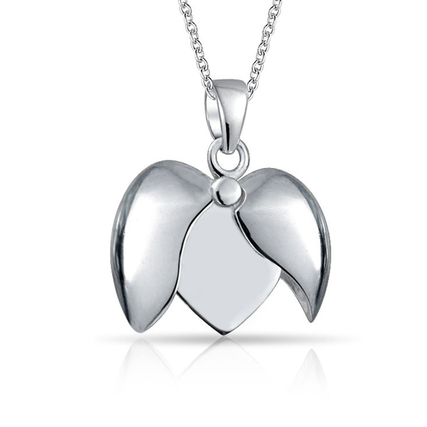 Sterling Silver Diamond and Swiss BT Heart Charm Pendant