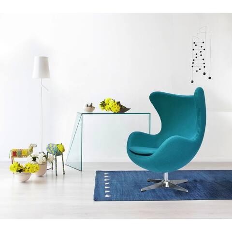 Mid-Century Modern Wool Fabric Tilt Swivel Lounge Chair