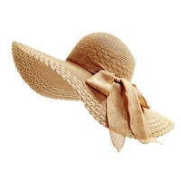 Women's Packable Large Wide Brim Straw Floppy Beach SPF50 Hat With Ribbon