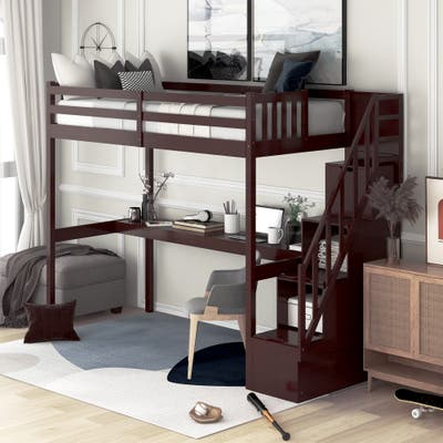 Nestfair Twin Loft Bed with Staircase and Built-in Desk