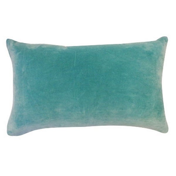 Vivai Home Turquoise Solid Color Rectangle 12x 20 Cotton Feather Throw Pillow - Blue