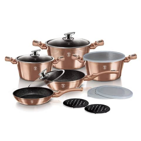 Berlinger Haus 13-Piece Kitchen Cookware Set, Rose Gold Collection