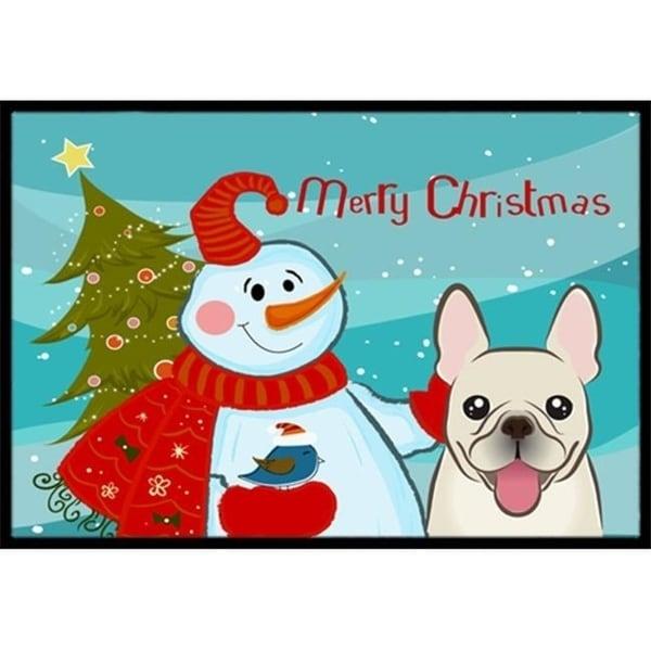 Carolines Treasures BB1858JMAT Snowman With French Bulldog Indoor & Outdoor Mat 24 x 36 in.