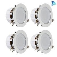 3.5'' Bluetooth Ceiling / Wall Speaker Kit, (4) Aluminum Frame 2-Way Speakers with Built-in LED Light