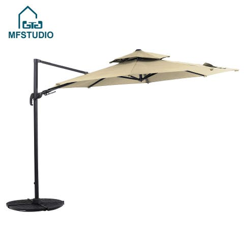 MF STUDIO 11ft Cantilever Umbrella with Tilt and 360 Degree Rotating System