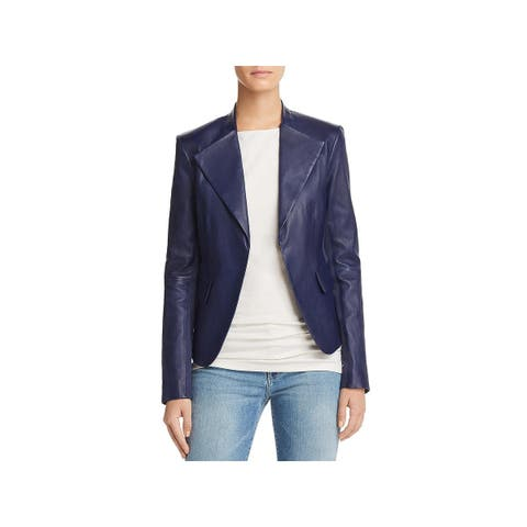 Theory Womens Bristol Peplum Jacket Lambskin Leather - P