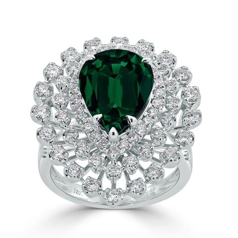 Auriya 4 1/5ct Pear-cut Green Emerald and Halo Diamond Ring 1 1/2cttw 18K Gold