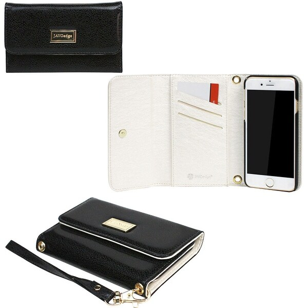 JAVOedge Classic Black Clutch Wallet Case with Matching Wristlet for Apple iPhone 6 (4.7 inch) - Metallic Black