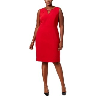 Nine West Womens Plus Red Beauty Party Dress Embellished Cut Out
