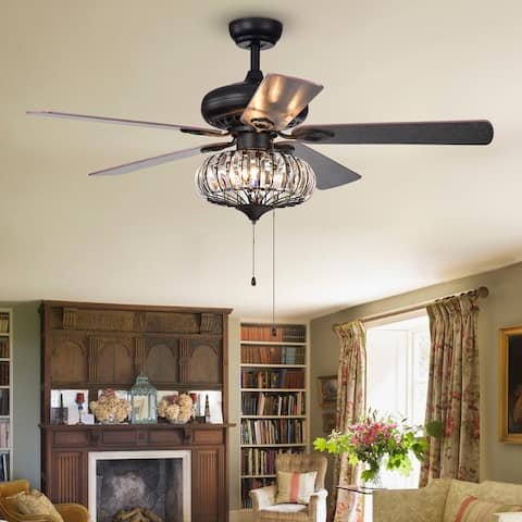 """Matte black 52"""" ceiling fan with crystal light 3-position remote control switch - 52""""W*52""""D*23""""L"""