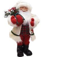 "18"" Santa in Winter Flannel with Sack of Pine Christmas Figure Table Top Decoration - WHITE"