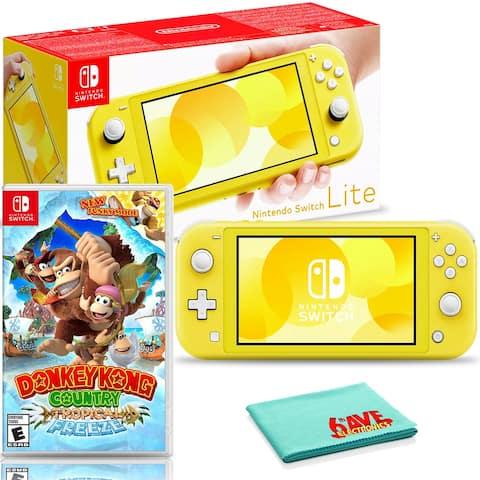 Nintendo Switch Lite (Yellow) Bundle with Donkey Kong Country: - Black