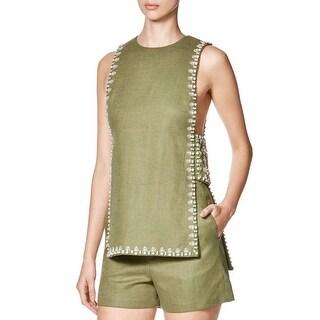 Tory Burch Womens Rachel Blouse Linen Blend Embellished - 12