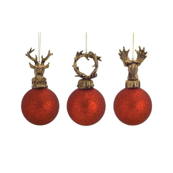 Pack of 12 Red and Gold Deer and Antler Distressed Glass Ball Ornaments