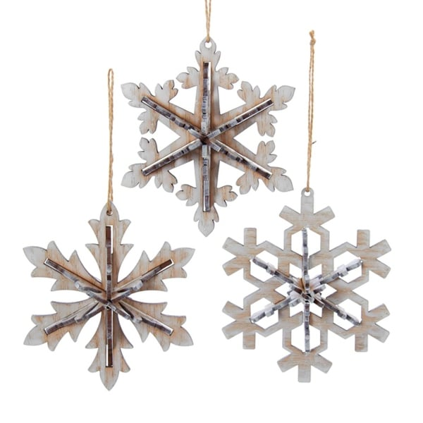 "5"" Winter Light Rustic Natural Wooden White Snowflake Christmas Ornament"