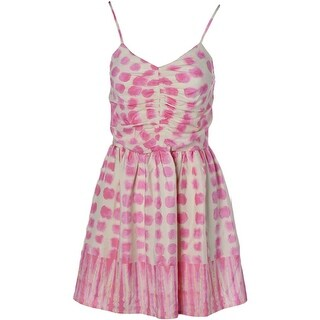 Aqua Womens Juniors Polka Dot Ruched Casual Dress