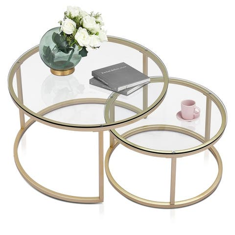 Ivinta Round Nesting Coffee Table Set of 2, Modern Tempered Glass/Wooden/White Faux Marble Veneer Tables for Living Room
