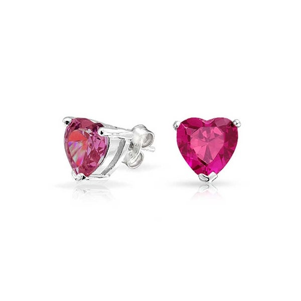 0b06209fb59fa Tiny Pink Fuchsia CZ Heart Shaped Stud Earrings For Women For Girlfriend  Imitation Ruby Cubic Zirconia Sterling Silver