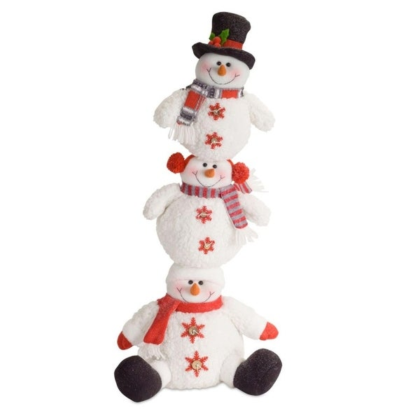 "Set of 2 Festive Stacked Snowman Floor Decoration 27.5"" - WHITE"