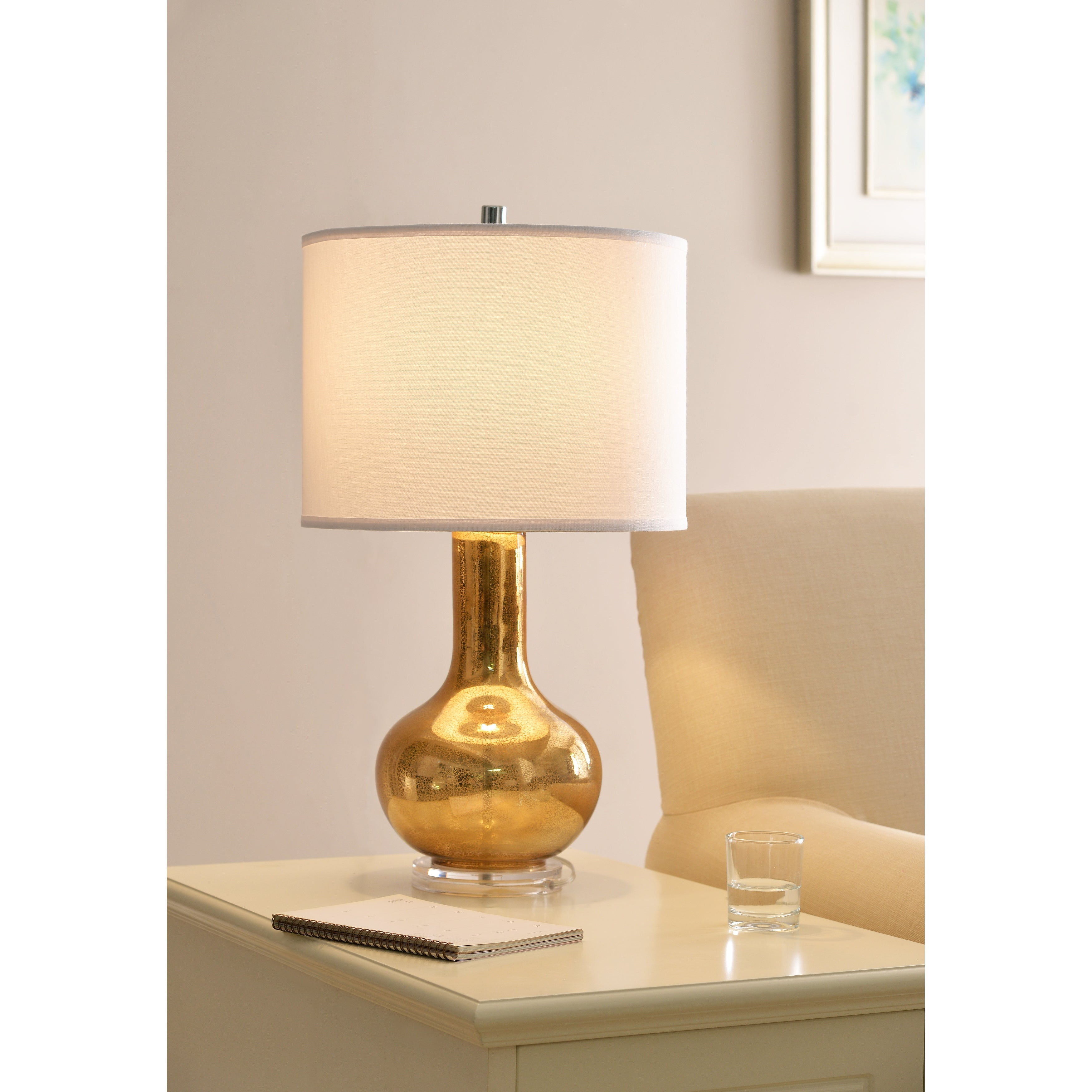 Image of: Shop Black Friday Deals On Enzo 27 Table Lamp Gold Antique Mercury Glass Overstock 20756651