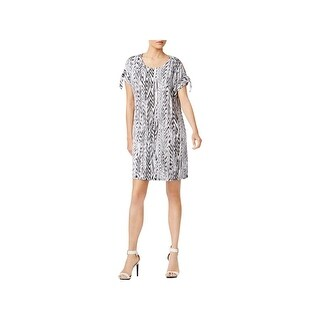 Calvin Klein Womens Wear to Work Dress Printed Cold Shoulder