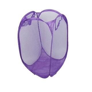 Foldable Lingerie Delicate Bra Mesh Wash Bag Home Household Net Washing Laundry Basket Purple