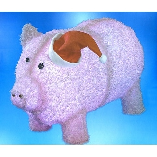 "28"" Pre-Lit LED Outdoor Chenille Pig in Santa Hat Christmas Yard Art Decoration"
