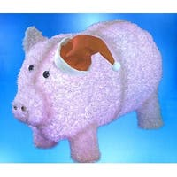 """28"""" Pre-Lit LED Outdoor Chenille Pig in Santa Hat Christmas Outdoor Decoration - Pink"""