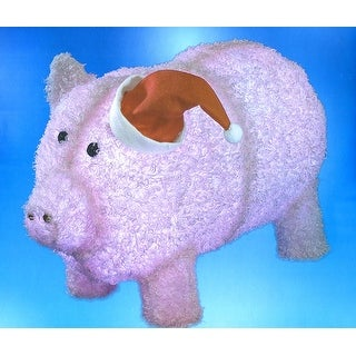 """28"""" Pre-Lit LED Outdoor Chenille Pig in Santa Hat Christmas Outdoor Decoration"""