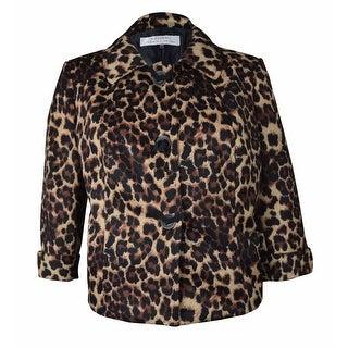 Tahari Women's Cuffed Animal Print Jacket
