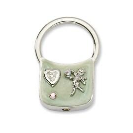 Silvertone Angel w/Crystals Light Green Enamel Key Fob