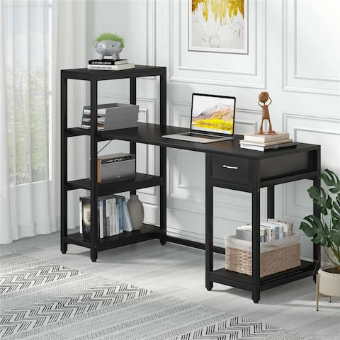 57 Computer Desk with 4-Tier Storage Shelves & Drawer