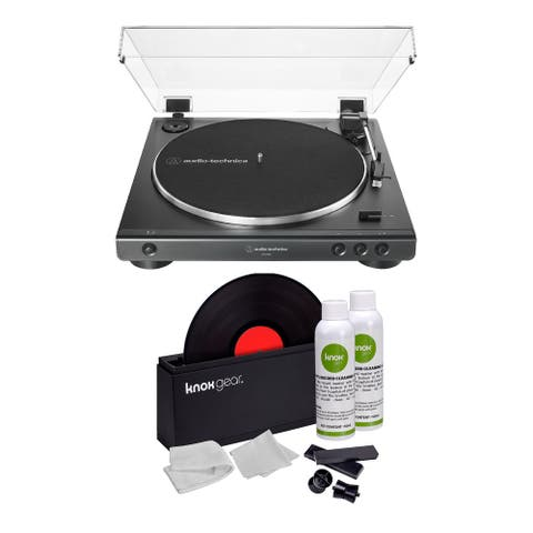 Audio-Technica AT-LP60X Turntable Black with Vinyl Record Cleaning Kit